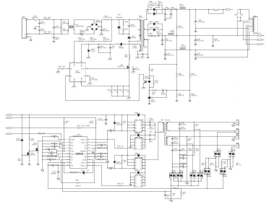 схема монитора, блока питания и инвертора